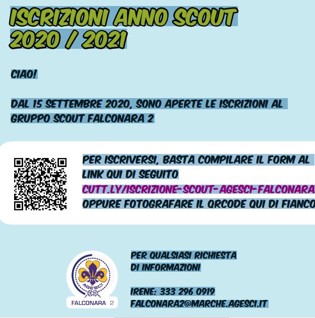 Iscrizioni anno scout 2020/2021